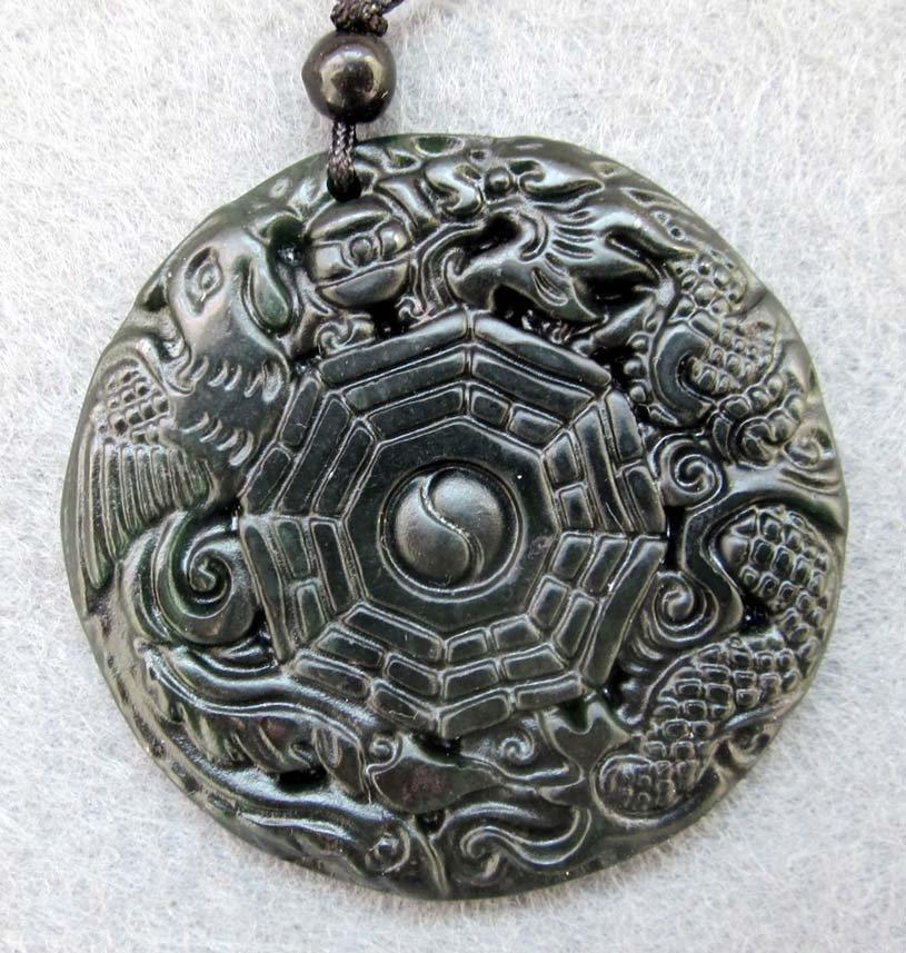 Black Green Jade Dragon Phoenix Tai-Ji 8-Diagram Amulet Pendant  TH80