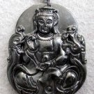 Black Jade Tibet Buddhist Mercy Kwan-Yin Dragon Phoenix Amulet Pendant  TH82