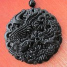 Black Jade Dragon Phoenix Love Amulet Pendant  TH88