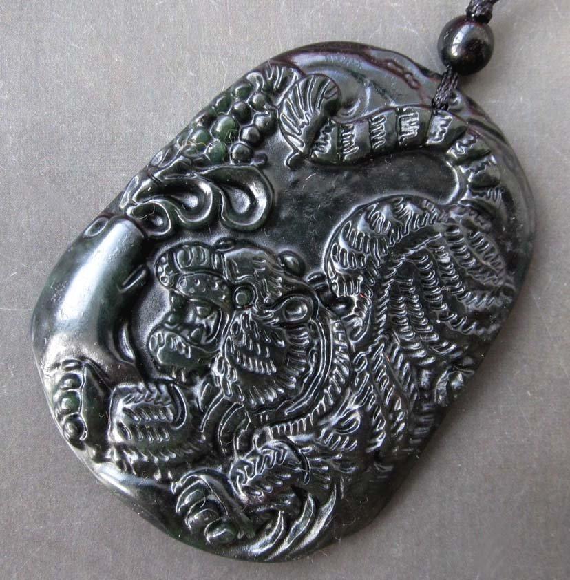 Black Green Jade Valor King Of Beasts Tiger Amulet Pendant  TTH91