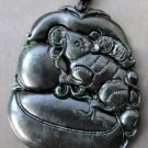 Black Green Jade Lucky Rat Coins Amulet Pendant  TH92