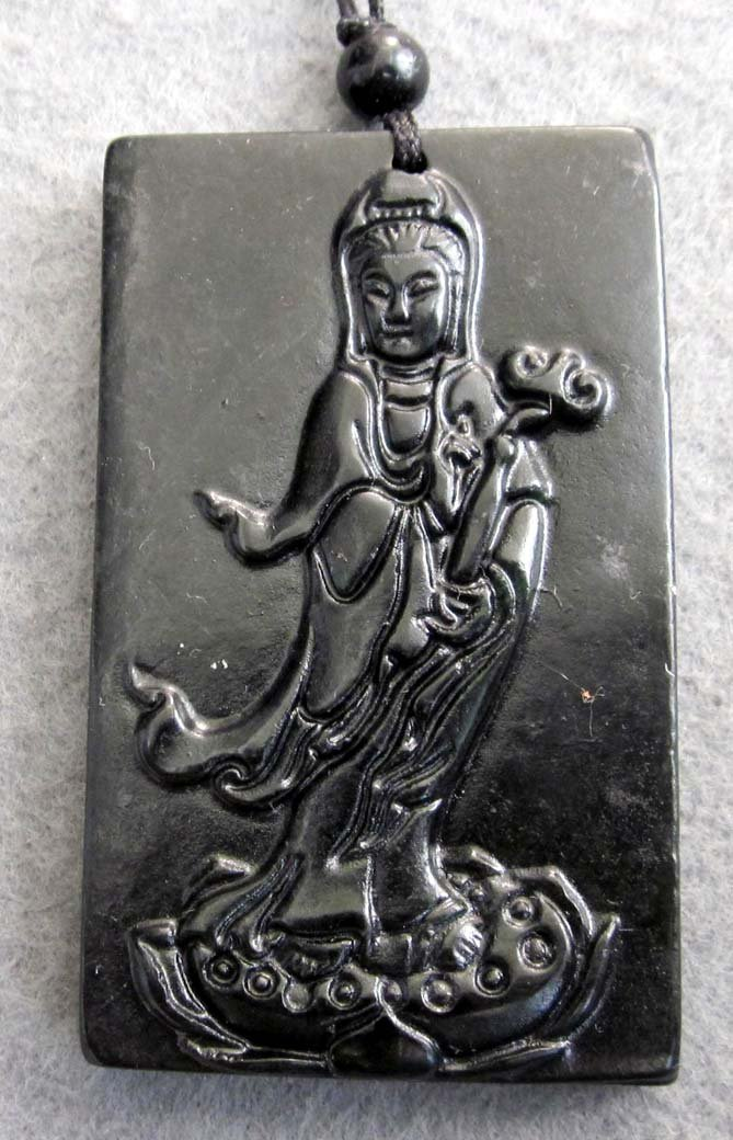 Black Jade Tibetan Buddhist Pu-Sa Ru-Yi As You Wish Amulet Pendant  TH93