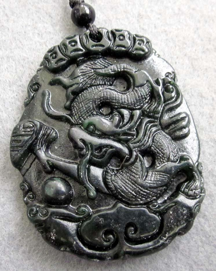 Black Green Jade Fortune Dragon Coins Amulet Pendant  TH94