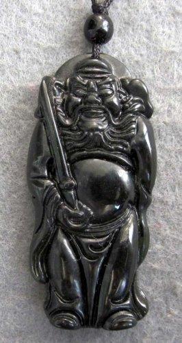 Black Green Jade ZHONG KUI Sword Amulet Pendant  TH97