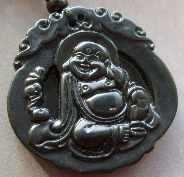 Black Green Jade Tibetan Buddhist Fortune Buddha Amulet Pendant  TH107