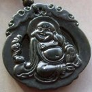 Black Green Jade Tibetan Buddhist Fortune Buddha Amulet Pendant  TH107
