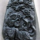 Black Green Jade Fortune Tiger Twin Dragon Amulet Pendant  TH115