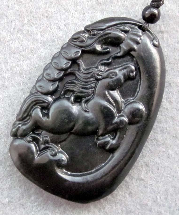 Black Jade Fortune Dragon Gallop Horse Coin Amulet Pendant  TH118