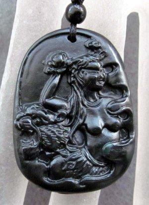 Black Green Jade Beauty Tiger-Head Pendant  TH122