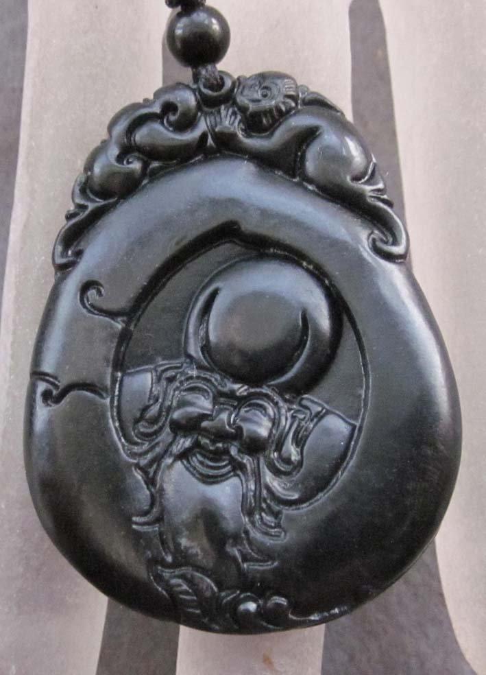 Black Green Jade Happy Longeivty God Head Blessed Amulet Pendant  TH125