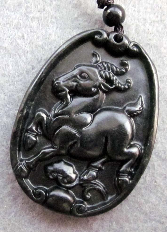Black Green Jade Fortune Zodiac Sheep Goat Amulet Pendant  TH126