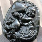 Black Green Jade Happy Boy Monkey Yuanbao Fortune Pendant  TH127