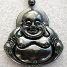 Black Green Jade Tibet Buddhist Laughing Buddha Amulet Pendant  TH132