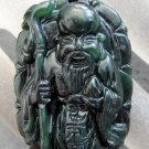 Black Green Jade Longevity God Peach Crutch Amulet Pendant  TH134