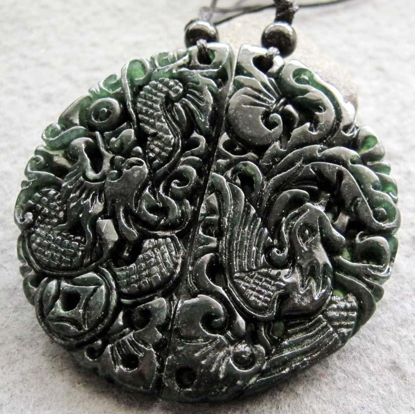 Black Green Jade Dragon Phoenix Love Pair Amulet Pendant  TH146