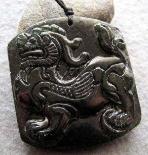 Black Green Jade Pi-Xiu Dragon Amulet Pendant  TH148