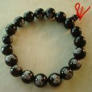 Tibetan Buddhist Black Agate FO Lotus Beads Prayer Mala Bracelet Wrist  T0004