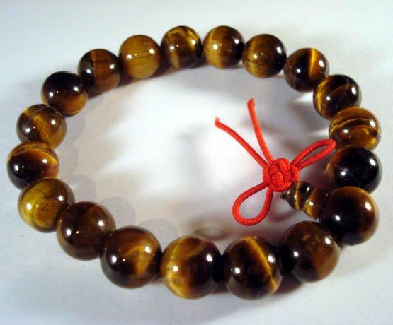 10mm Tiger Eye Gem Beads Tibet Buddhist Prayer Mala Bracelet Wrist  T0006