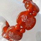 Red Agate Gem Tibetan Buddhist FO Buddha Lotus Beads Elastic Bracelet  T0008
