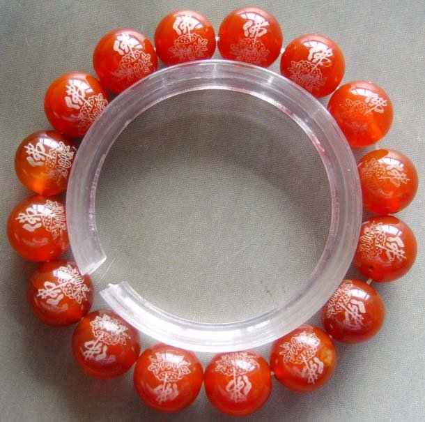 12mm Red Agate Gem Beads Tibetan Buddhist Prayer Mala Bracelet FO Lotus  T0014