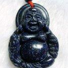 Blue Sandstone Gem Tibet Buddhist Lucky Happy Buddha Amulet Pendant  T0021