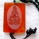 Red Agate Gem Tibet Mercy Kwan-Yin YI-SHENG-PING-AN 2Faces Amulet Pendant  T0089