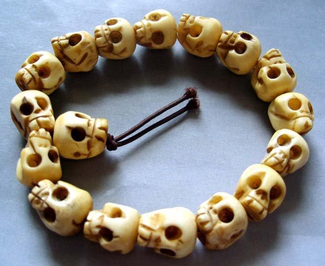 10mm Ox Bone Carved Skull Beads Tibet Buddhist Prayer Bracelet Wrist Mala  T0097