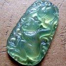 Deep Green Jade Chinese Zodiac Monkey Peach Amulet Pendant  T0146