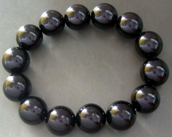 14mm Black Onyx Agate Gem Tibetan Mediation Prayer Yoga Bracelet  T0218