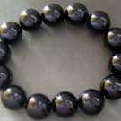 14mm Black Onyx Agate Gem Tibetan Mediation Prayer Yoga Bracelet  T0218