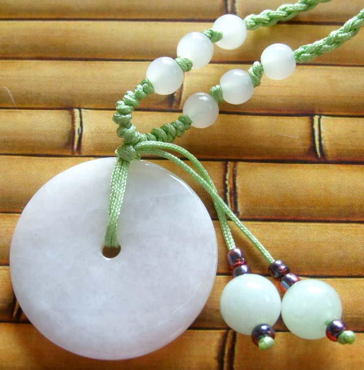 Natural Jade Jadeite Peace Circle Bi Donut Pendant Necklace 52mm*30mm*13mm  T0223