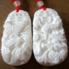 Tridacna Shell Dragon Phoenix Made Lover Pair Amulet Pendant 35mm*20mm  T0231