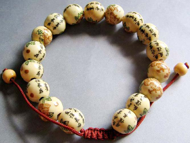 10mm Hand Painted Calligraphy Word Flower Chinese Porcelain Beads Bracelet  T0247