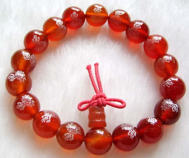 10mm Red Agate Gem Tibet Buddhist Praye Bracelet Wrist Mala FO Lotus  T0251