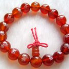10mm Red Agate Gem Tibet Buddhist Praye Bracelet Wrist Mala FO Lotus  T0251