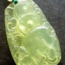Light Green Jade Fortune Zodiac Pig Amulet Pendant 33mm*20mm  T0256R