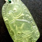 Light Green Jade Fortune Zodiac Dog Amulet Pendant 33mm*20mm  T0263R