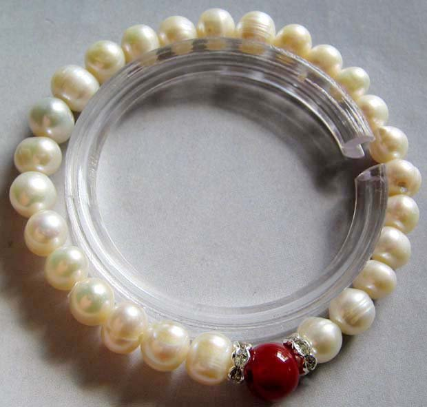 Fashion Jewelry Freshwater Pearl Beads Bracelet With Red Jade  T0265