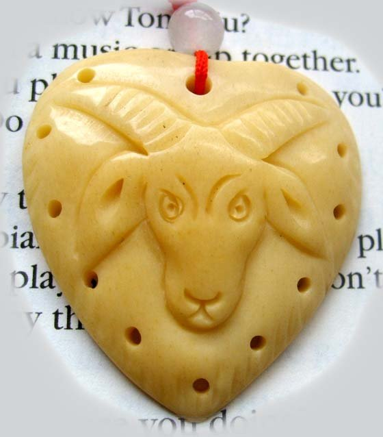 Ox  Bone Carved Sheep Ghost Head Heart Pendant 35mm*35mm  T0279