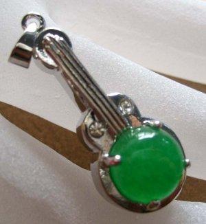 Green Jade Alloy Metal Musical Instrument Pendant 30mm*12mm  T0294