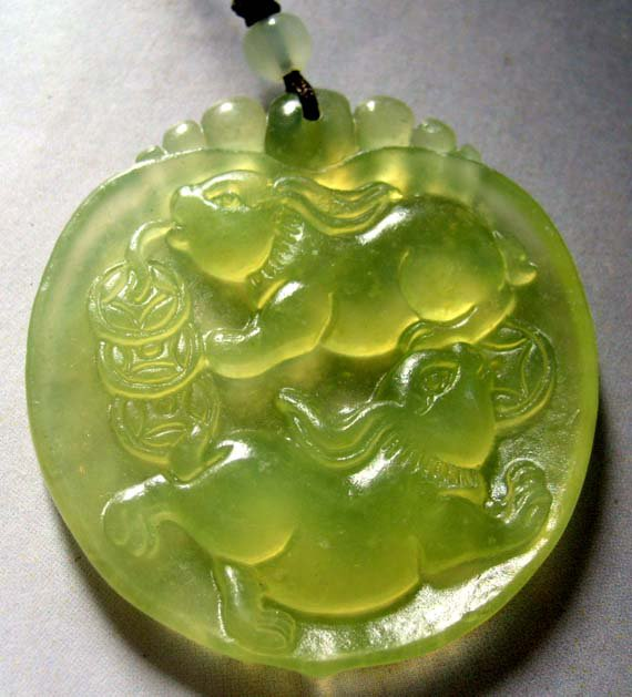 Light Green Jade Two Fortune Rabbits Coins-Strand Pendant 45mm*40mm  T0322