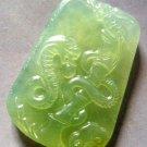 Light Green Jade Fortune Zodiac Snake Boa Bamboo Amulet Pendant 45mm*30mm  T0349