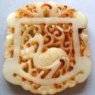 Old Jade Longevity Crane Twin Lucky Phoenixs Flower Fortune Pendant 50mm*42mm  T0373