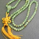 6mm 108 Light Green Stone Beads Tibet Buddhist Prayer Mala Necklace  ZZ103