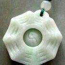 Natural Jade Jadeite Tai-Ji 8-Diagram Pendant Necklace 25mm*25mm  T0419R
