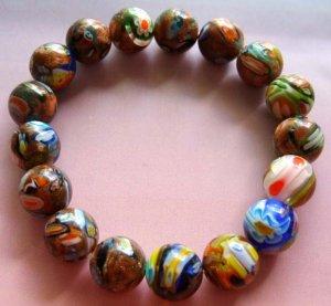 10mm Hand Painted Goldstone Gem Beads Elastic Bracelet  T0438
