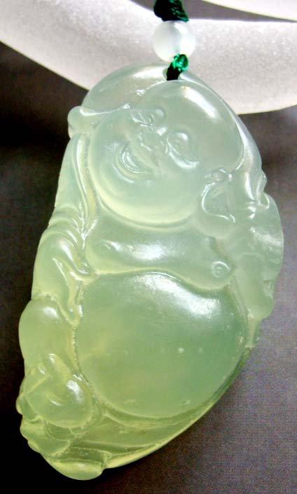 Light Green Jade Long Life Longevity Buddha Amule Pendant 50mm*27mm  T0442