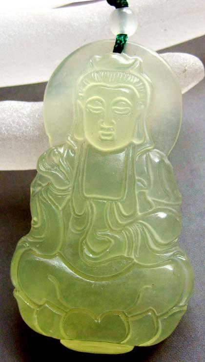 Light Green Jade Tibet Buddhist Kwan-Yin Buddha Amulet Pendant 55mm*33mm  T0444