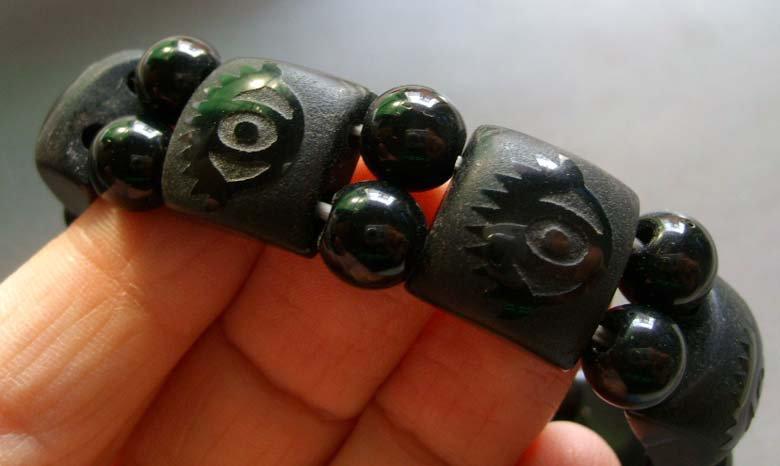 Black Green Jade Heaven Eye Rectangle Beads Elastic Bracelet  T0450