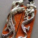Goldstone Gem Alloy Metal Dragon Phoenix Pair Rectangle Amulet Pendant 30mm*10mm  T0464
